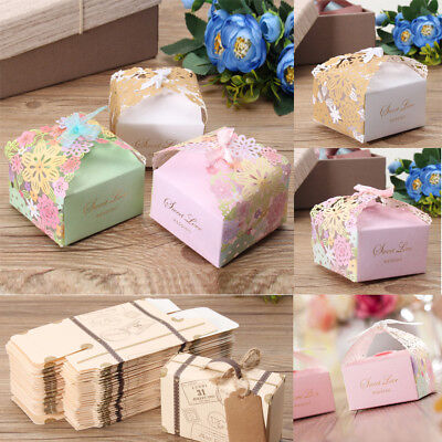 10~100pcs Rose Hollow Candy Boxes Wedding Birthday Party Decor Favours Ribbon