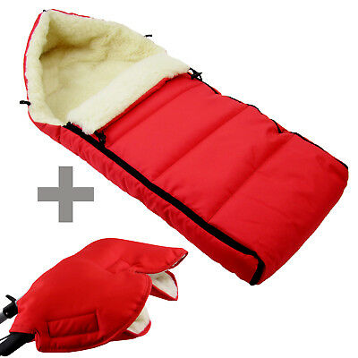 BAMBINIWELT MUFF+WINTERFUSSSACK (90cm) Jogger Buggy Wolle LINIERT UNI ROT