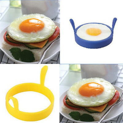 Blue Silicone Round Egg Rings Pancake Mold Ring w Handles Nonstick Fried Frying