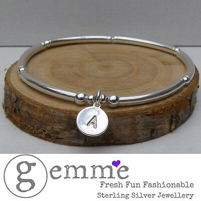 Sterling Silver Stretch Stacking Bracelet with Personalised Hand Stamped Tag