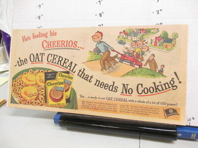 newspaper ad 1951 CHEERIOS cereal box comic General Mills roller skate wagon