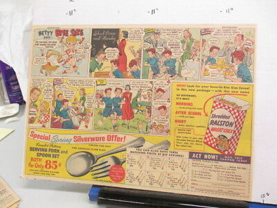 newspaper ad 1951 Ralston Wheat Chex cereal box silverware premium Betty school