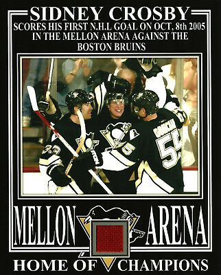 SIDNEY CROSBY PENGUINS 8x10 PHOTO 1st NHL GOAL OCT 8th 2005 W/ MELLON ARENA SEAT