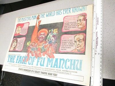 newspaper ad 1960s movie theater FACE OF FU MANCHU Christopher Lee Karin Dor