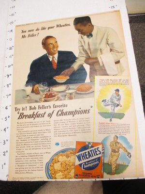 newspaper ad NYSN 1941 baseball BOB FELLER Cleveland Indians WHEATIES cereal box