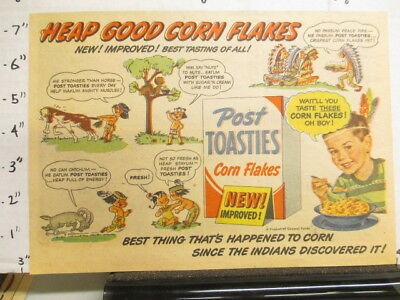 newspaper ad NYSN 1951 POST TOASTIES cereal box HEAP GOOD racist Indian comic