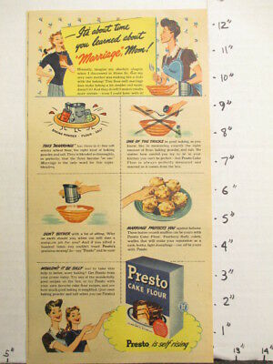 newspaper ad NYT 1945 PRESTO self rising cake flour Best Foods marriage mom