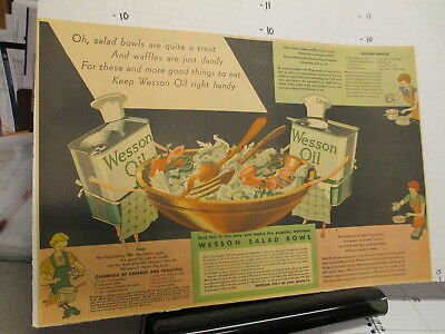 newspaper ad premium 1930s WESSON cooking oil can people salad bowl recipe comic