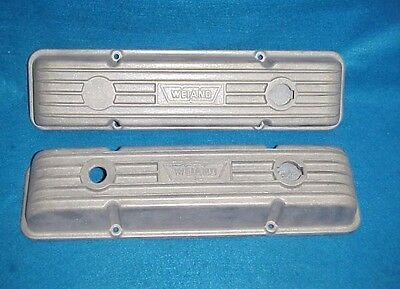 Vintage Finned Aluminum Weiand Valve Covers Small Block Chevy Sbc  Hot Rat Rod