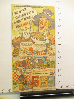 newspaper ad premium 1966 Ralston CHEX cereal box scarecrow comic BREAKFAST IS 1