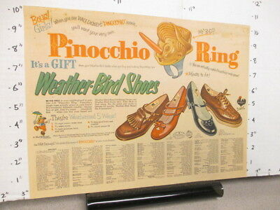 newspaper ad premium ring 1954 WEATHER BIRD SHOES Disney Pinocchio 3D nose grows