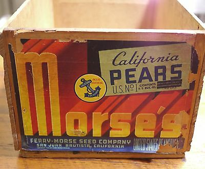 Vintage Antique 1939 Ferry Morse Seed Co California Pears Fruit Wood Crate Box