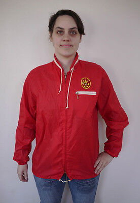 Vintage 70s BSA Boy Scouts Patch Red Nylon Hooded Parka Jacket M-L Youth Womens