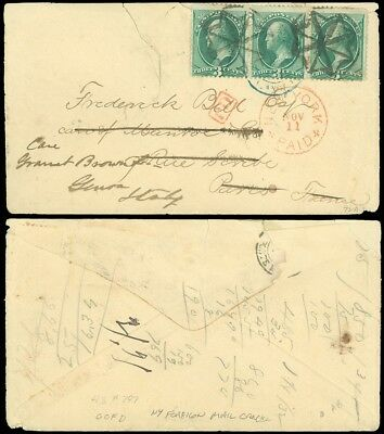 1874 NEW YORK FOREIGN MAIL CANCELED COVER To FRANCE, Forwarded to ITALY, #184!
