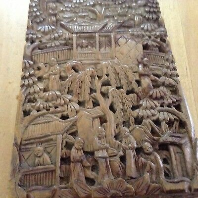 An Intricately Carved Antique Chinese Hardwood Card Case : c1880