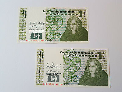 2 x Central Bank of Ireland £1 Banknotes 1987/89 HCJ202253 LAK589403 P70 Ef Aunc