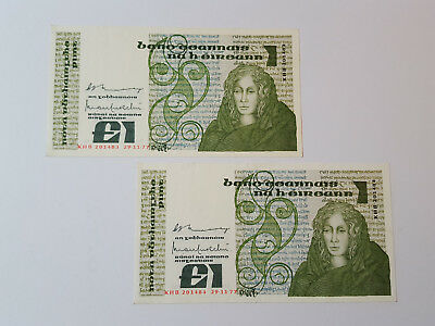 2 Central Bank Ireland CONSECUTIVE £1 Banknotes 29.11.77 KHB201484 / 5 P70a VF+