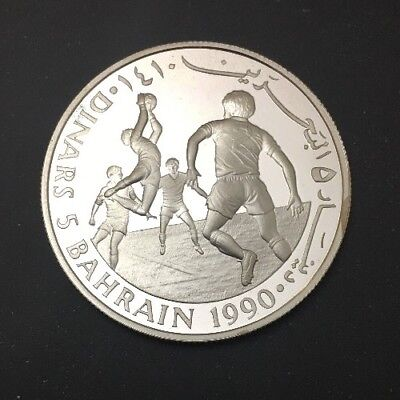 YR1990 5 Dinars BAHRAIN SAVE THE CHILDREN SILVER PROOF COIN RARE FOOTBALL GOALIE