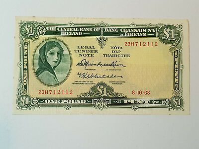 Central Bank of Ireland Lady Lavery £1 Banknote - 8.10.68 - 23H712112 P64a VF