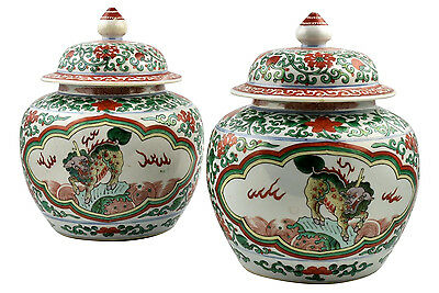 Pair Antique 18th / 19th Century Chinese Famille Verte Covered Jars