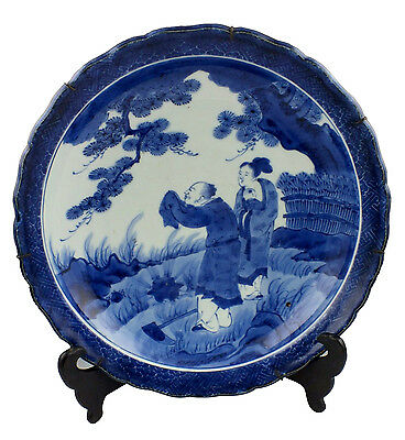 Signed 19th C Japanese Arita Charger w/ Man, Woman & Child