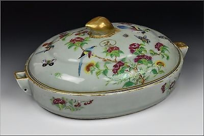 18th Century Chinese Export Celadon Body Famille Rose Covered  Warming Platter