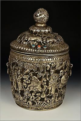 Early 20th cent  Tibetan Solid Silver Ceremonial Container w/ Turquoise & Coral