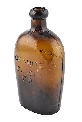 Antique Granite Glass Co. Stoddard NH Donut Top Glass Flask