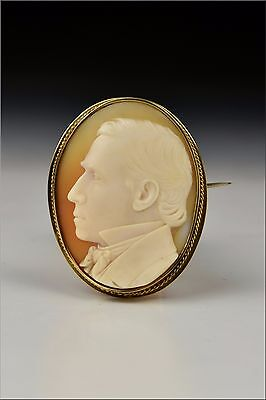 Dated  1857 Carved Cameo Brooch / Pin by Rare American Artist B H Kinney