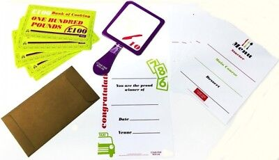 Come Dine With Me Dinner Party Game Menus Voting Paddles Money Certificate