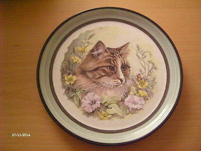 Stone Ware Purbeck Pottery ~ Cat Portrait Plate ~ 8 1/4 Inches
