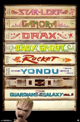 "Guardians of the Galaxy 2 Tapes Poster Marvel Comics 22.375"" x 34"" Star-Lord"
