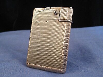 ART DECO 9ct GOLD SLIM PETROL POCKET VINTAGE ANTIQUE ASPREY LIGHTER MINT WORKING