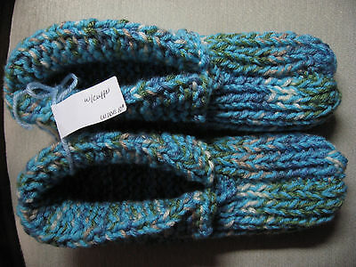"New Amish Handmade Sky Blue Mix House Slippers Wms X Lg Mans Med/Large 10"" WIDE"
