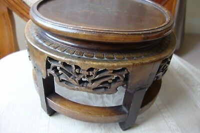 Chinese Carved Hardwood Stand 19c Circa 1870