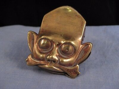 Lovely Antique Japanese Meiji Face Monkey God Letter Paper Clip Brass Desktop