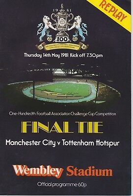 Manchester City V Tottenham Hotspur ~ Fa Cup Final Replay 14 May 1981