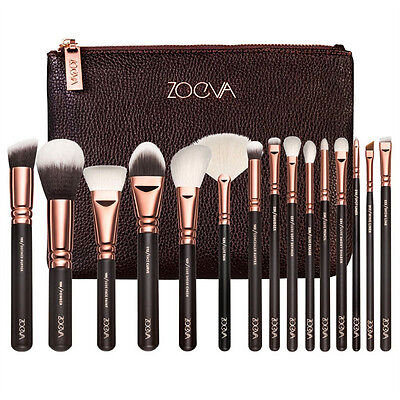 ZOEVA Rose Golden Makeup Cosmetic Complete Eye 15PCS Set Powder Brushes Set+Case