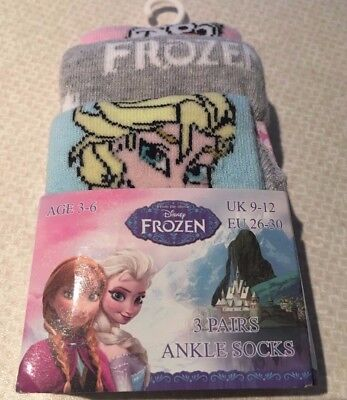 Disney Frozen Girls Socks..size 9-12..Elsa-Anna-Olaf..