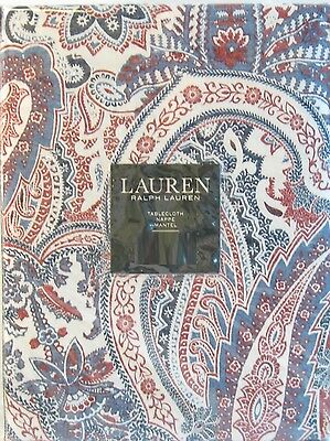 Ralph Lauren Cotton Tablecloth Laveen Paisley Red Blue Ivory 60 x 104 - NEW
