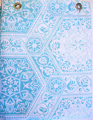 Park B Smith Watershed Shower Curtain Venetian Tiles Lt Aegean White - NEW