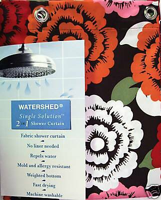 Park B Smith Watershed Shower Curtain Brown Floral - NEW