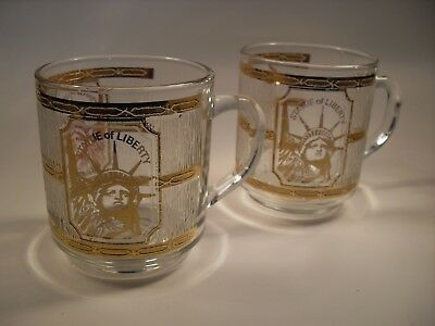 Pair of Culver Glass Statue of Liberty Mugs