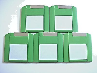 5 x Iomega ZIP 100 MB Disks - PC Formatted - Green - Used