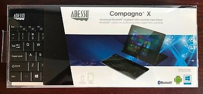 Adesso Compagno X Black Aluminum Universal Bluetooth Tablet Keyboard w/Stand NEW
