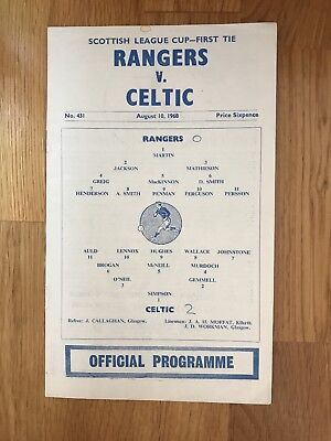 Rangers V Celtic Programme 10th August 1968