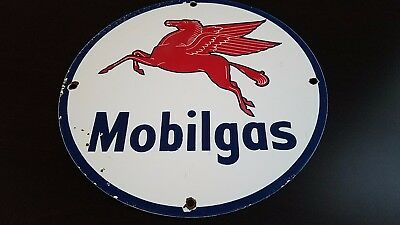 Vintage Mobil Pegasus Gasoline Porcelain Gas Oil Service Station Pump Plate Sign