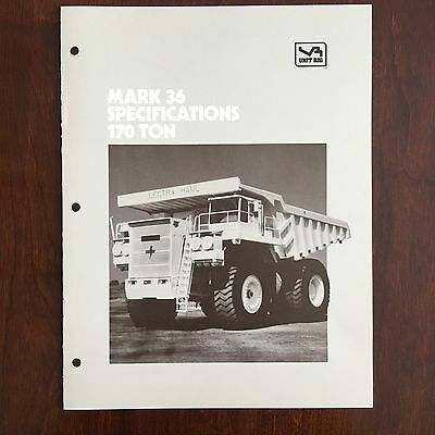 UNIT RIG LECTRA HAUL MARK-36 Dump Truck - Vintage Equipment Brochure Specs 1984