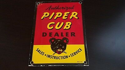 Vintage Piper Airplanes Porcelain Gas Aviation Service Station Pump Plate Sign