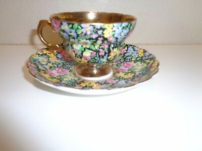 Vintage Rosina Chintz Floral Cup & Saucer England Bone China #5333R C/S